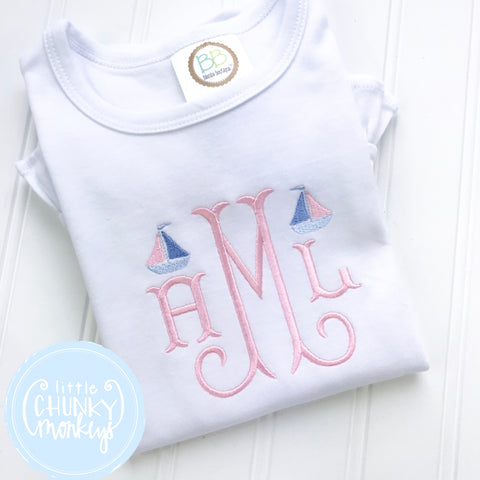 Girl Shirt - Girl Shirt - Stitched Monogram with Mini Sailboats