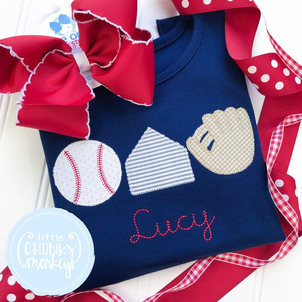 Girl Shirt - Baseball Trio with Personalization on Navy Shirt
