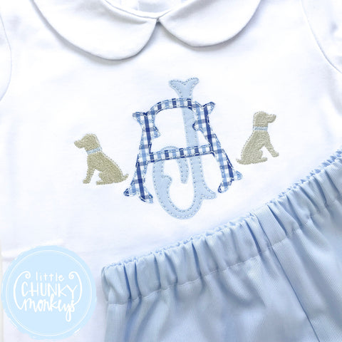 Boy Peter Pan Collar Shirt -Double Stacked Monogram Applique with Mini Dogs