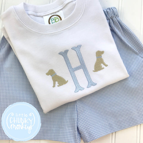 Boy Shirt -Single Initial with Mini Sitting Dogs
