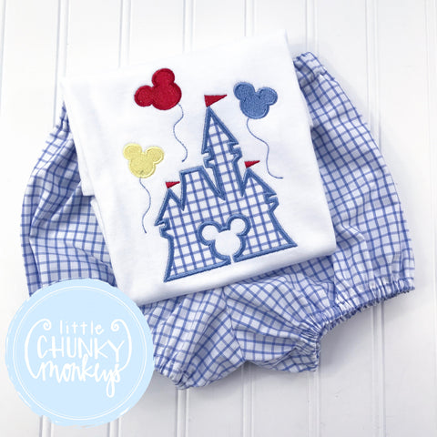 Boy Shirt -Applique Castle with Mouse Balloons