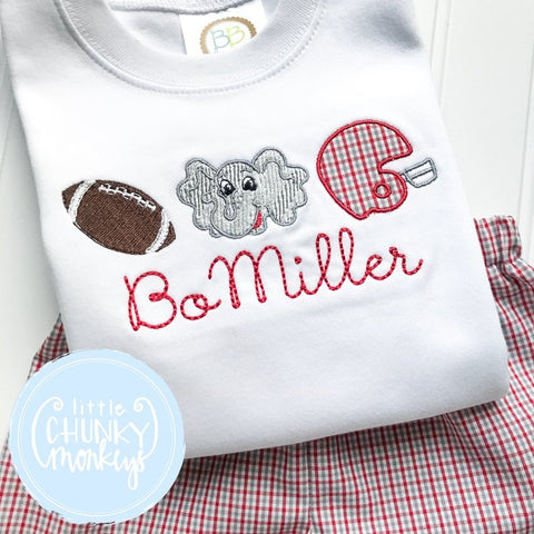 Boy Shirt -Stitched Football Trio with personalization