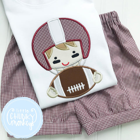 Boy Shirt -Applique Football Player