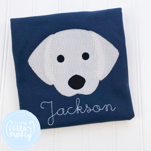 Boy Shirt -Applique Dog Head on Navy Blue Shirt