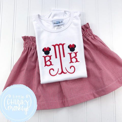 Girl outfit - Monogram with Mini Mouse on Each Side