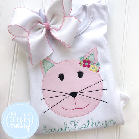 Girl Shirt - Girl Shirt - Girl Floral Cat Applique with Personalization