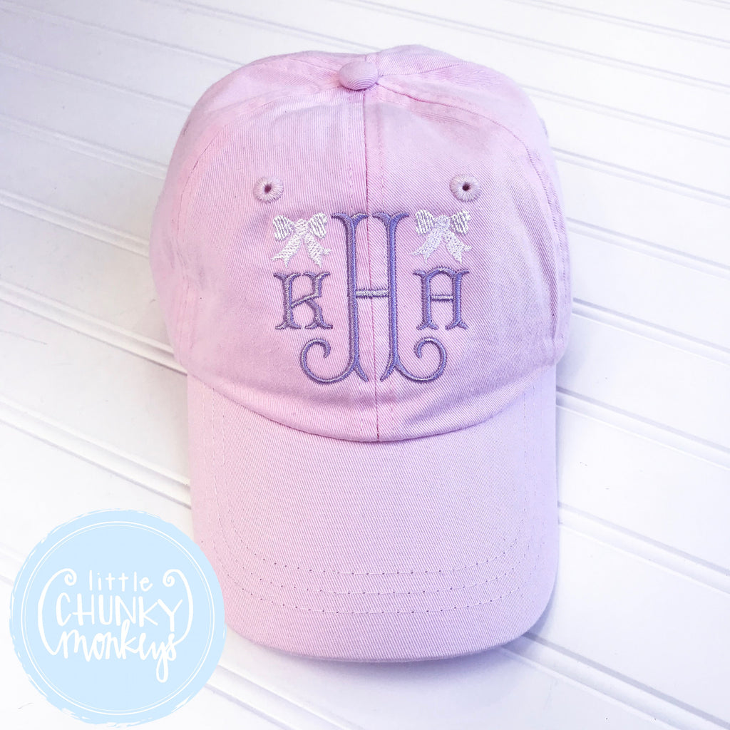 Toddler Kid Hat - Pale Pink with Lilac Monogram and Mini Bows
