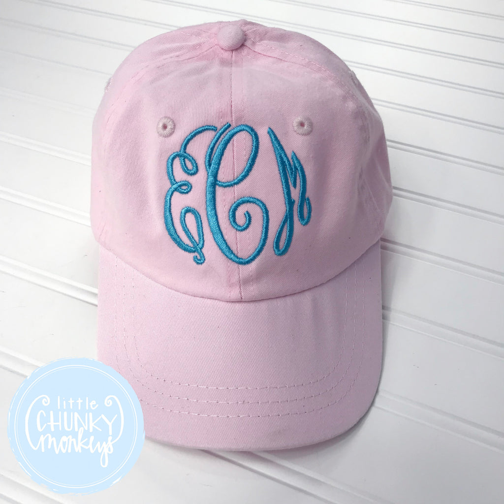 Toddler Kid Hat - Pale Pink with Turquoise Monogram