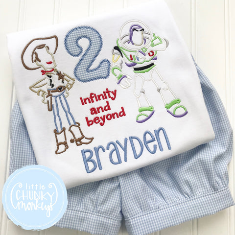 Boy Shirt - Personalized Boy Shirt - Cowboy and Astronaut Birthday Themed Shirt