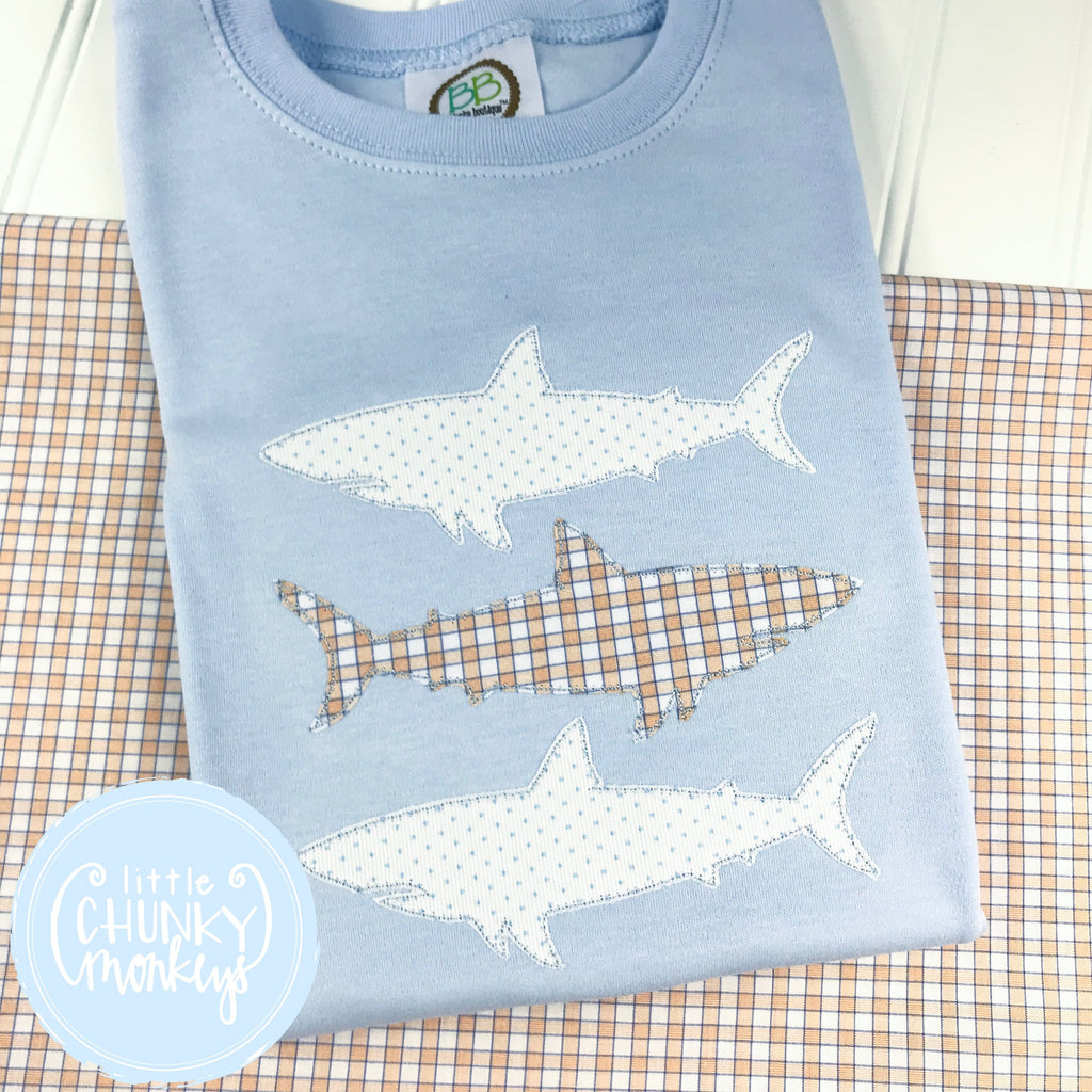 Boy Shirt - Applique Shark Stacked Trio on Baby Blue Shirt