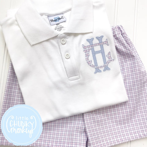 Boy Polo Shirt - Stacked Monogram on White Polo Shirt