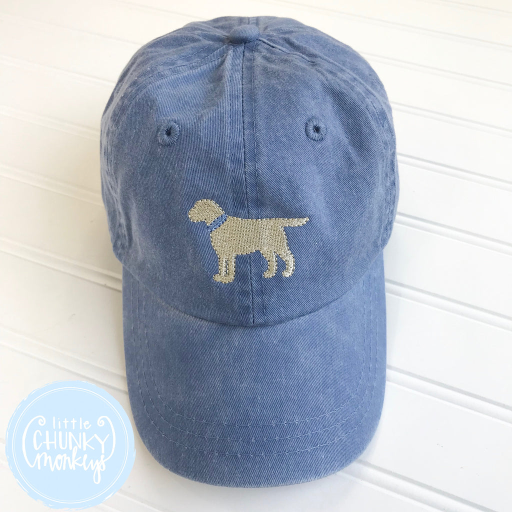 Toddler Kid Hat - Faded Baby Blue Hat with Stitched Dog