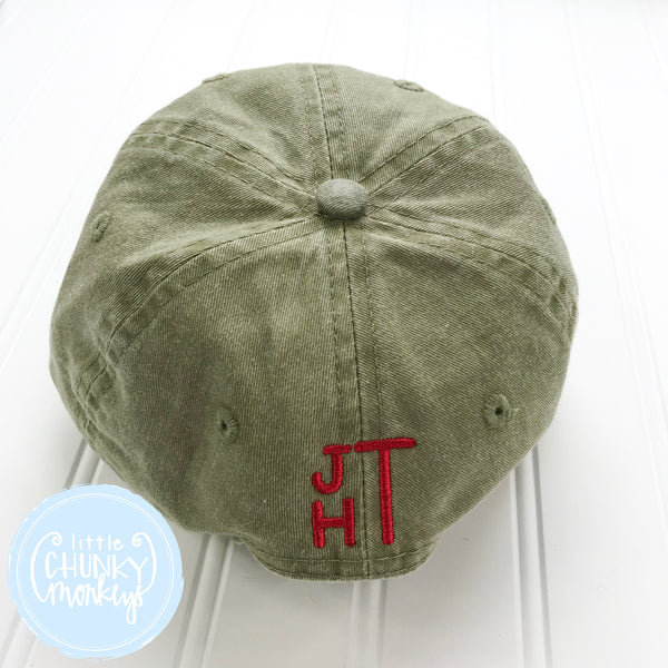 Toddler Kid Hat - Golf Tee on Olive Hat