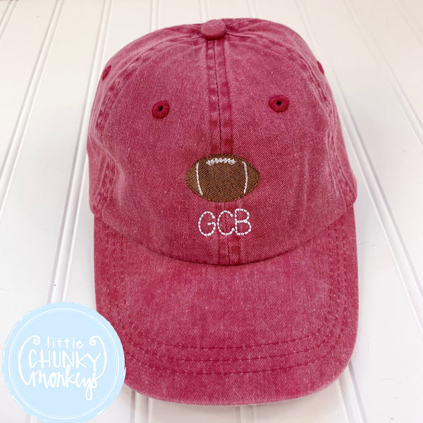 Toddler Kid Hat - Faded Red Hat with Football and Monogram