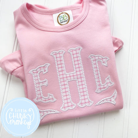 Girl Shirt - Applique Initials on Light Pink