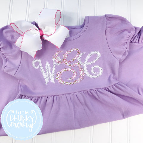 Girl Dress - Applique Monogram on Purple Short Sleeve Dress