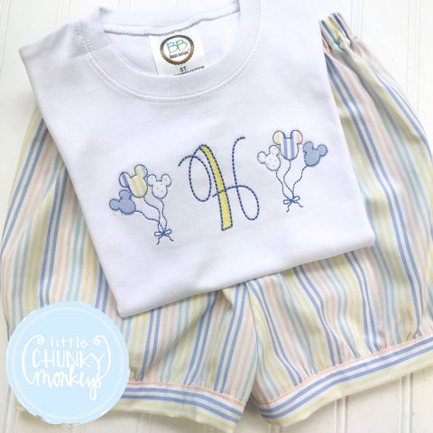 Boy Shirt  - Mouse Balloon Shirt with Pastel Stripe
