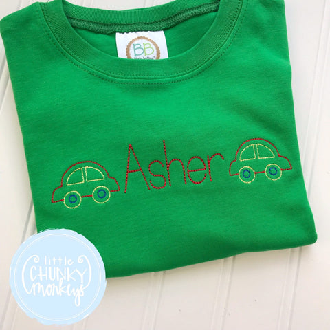 Boy Shirt - Vintage Stitch Cars with Name on Kelly Green Shirt
