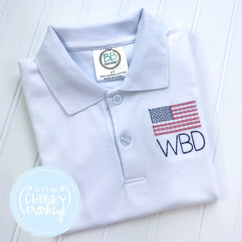 Boy Polo Shirt - Patriotic Polo Shirt - Personalized Polo Shirt with American Flag