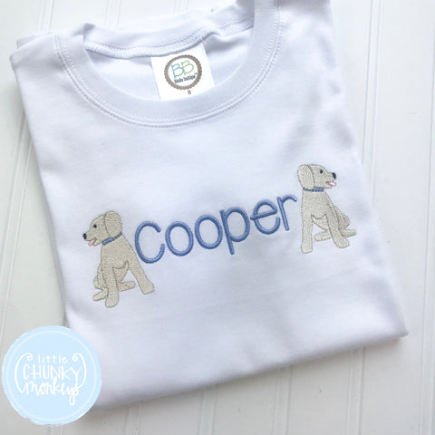 Boy Shirt -Stitched Name with Mini Sitting Dogs