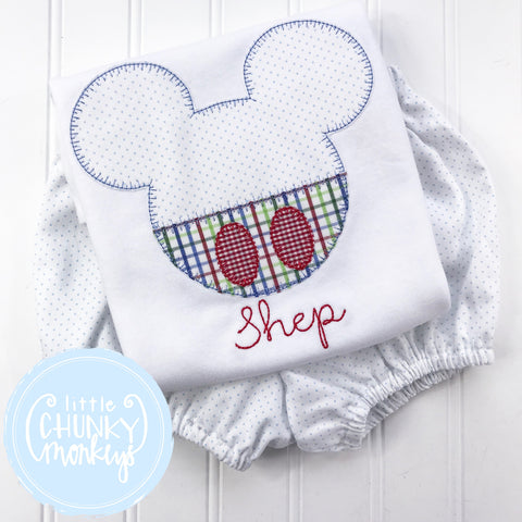 Boy Shirt -Applique Mouse Head with Personalization