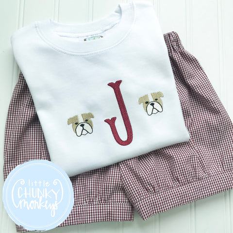 Boy Shirt -Single Initial with Mini Mascot