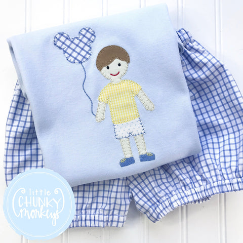 Boy Shirt - Boy Holding Mouse Balloon on Baby Blue Shirt