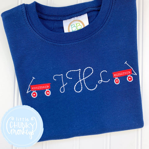 Boy Shirt -Monogram with Mini Wagons on Navy Blue Shirt