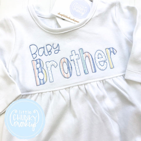 Baby Brother Gown - Bring Home Outfit - Personalized Newborn Gown with Brother Applique in Pastel Stripe