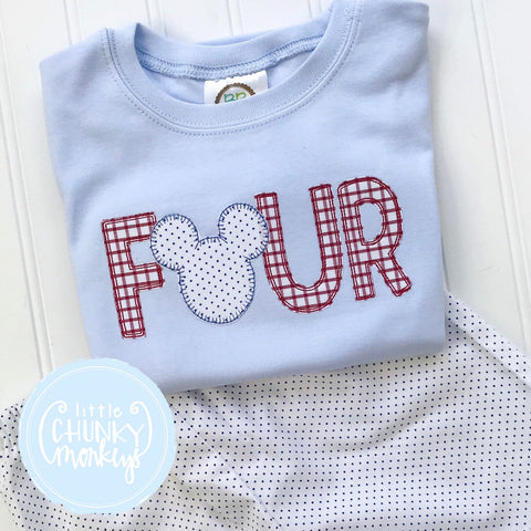 Boy Shirt - Boy Birthday Shirt - Birthday Number Applique with Mouse on Light Blue Shirt