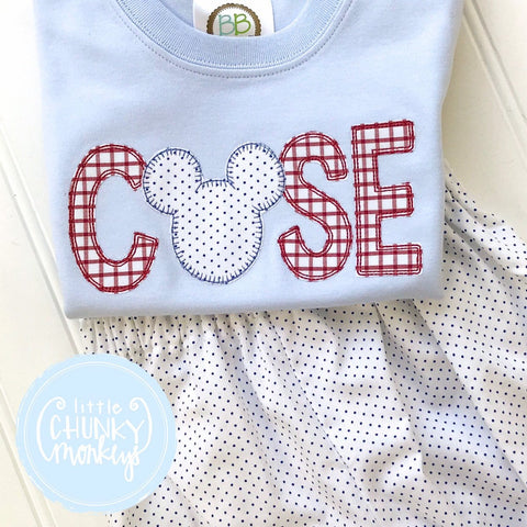 Boy Shirt - Name Applique with Mouse on Light Blue Shirt