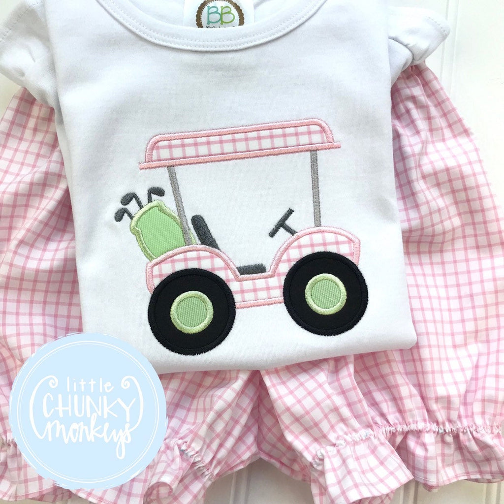 Girl Shirt - Golf Shirt - Light Pink Windowpane with Light Green Golf Cart Applique Shirt