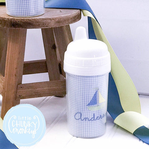Toddler Sippy Cup - Sailboat with  Personalization