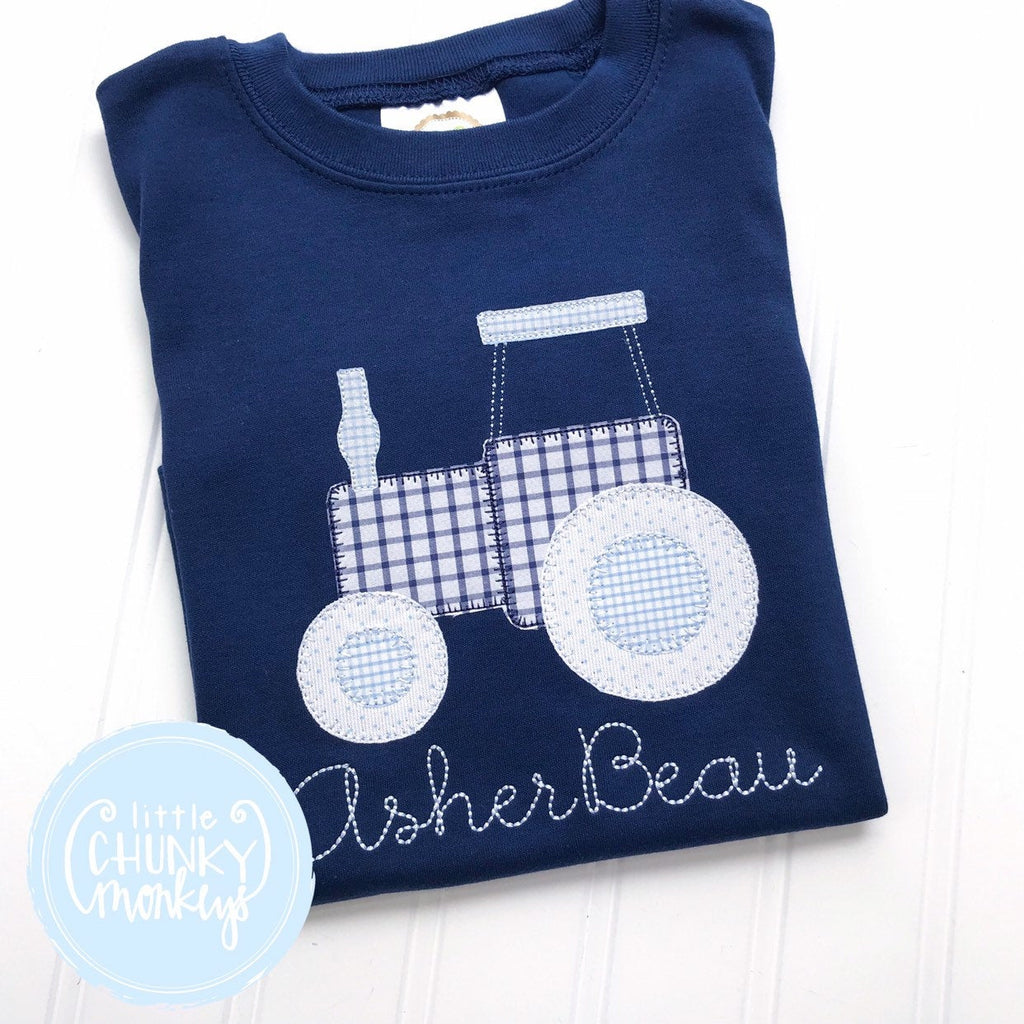 Boy Shirt - Applique Tractor + Personalization