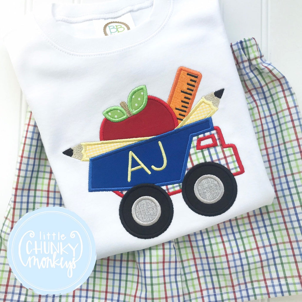 Boy Shirt -Boy School Shirt- Dump Truck with School Supplies