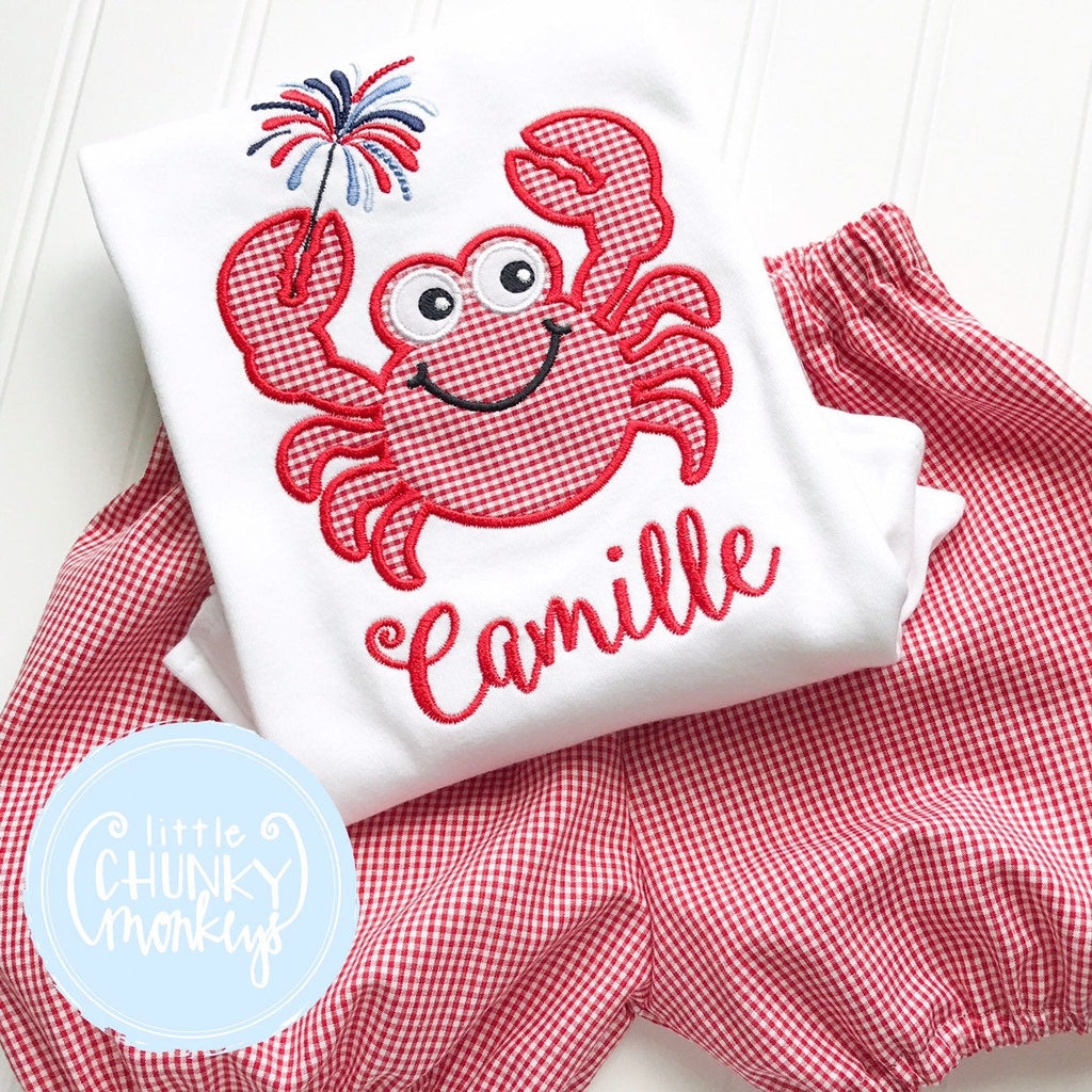 Girl Shirt - Personalized Girl Shirt - Patriotic Crab with Sparklers