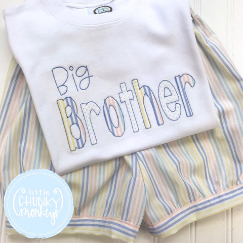 Boy Shirt - Big Brother Shirt - Big Brother Shirt with Pastel Stripe