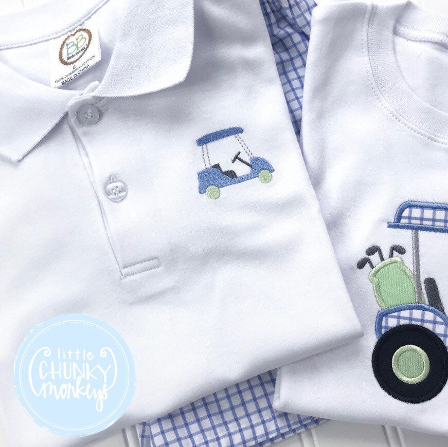 Boy Polo Shirt- Mini Golf Cart on White Polo Shirt