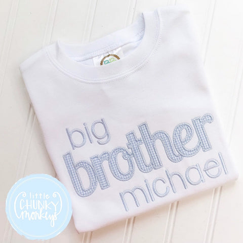 Boy Shirt - Boy Shirt - Big Brother Applique Shirt With Name