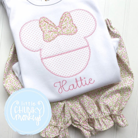 Girl Shirt - Applique Mouse with Bows