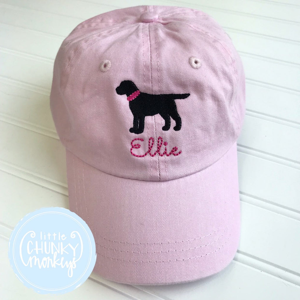 Toddler Kid Hat - Pale Pink with Standing Black Dog
