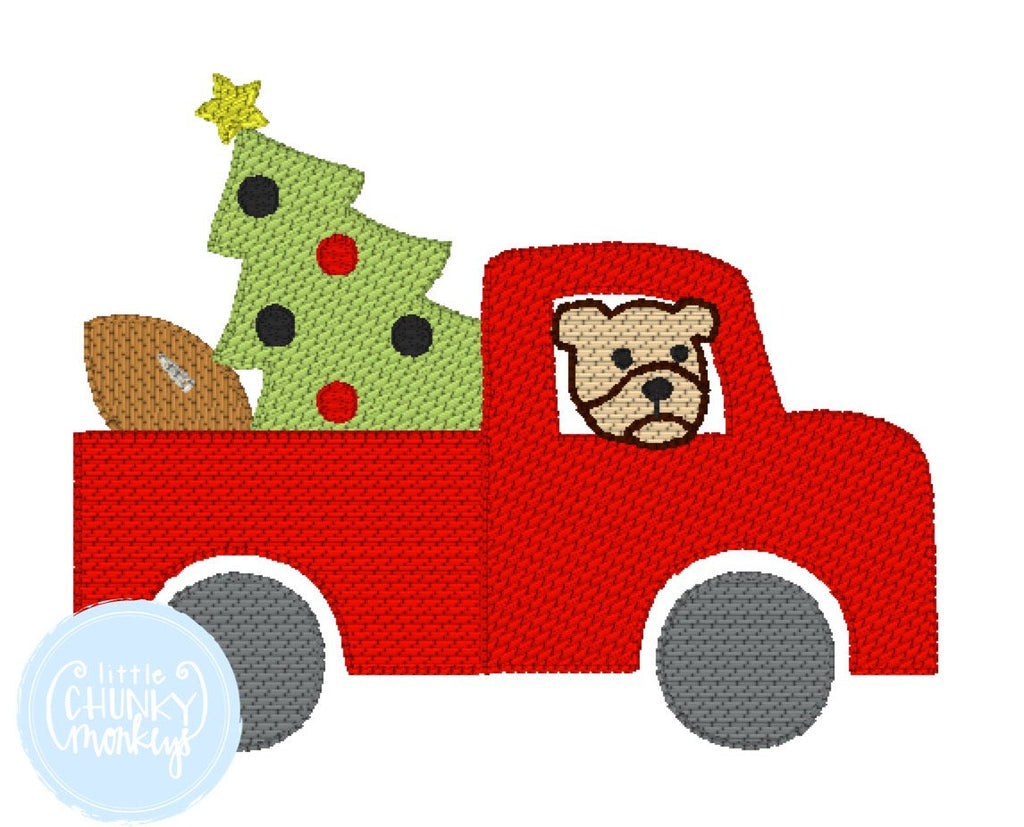 Boy Shirt - Stitched Truck with Bulldog and Christmas Tree