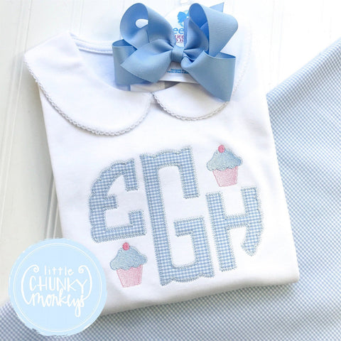 Girl Peter Pan Collar Shirt - Appliqué Monogram with Mini Cupcakes