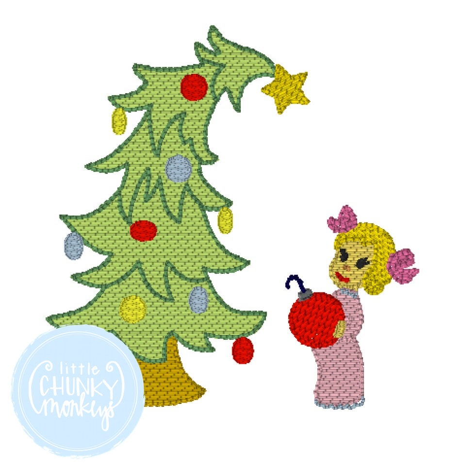 Girl Shirt - Stitched Christmas Tree with Little Girl
