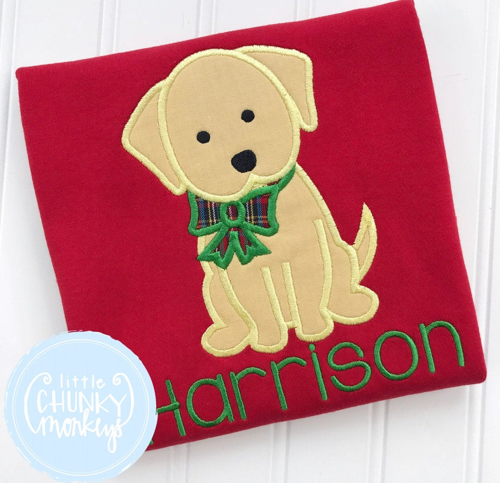 Boy Shirt - Applique Dog with Christmas Bow + Personalization