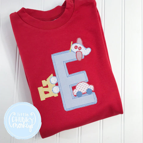 Boy Shirt - Personalized Boy Shirt with Transportation on Red Shirt