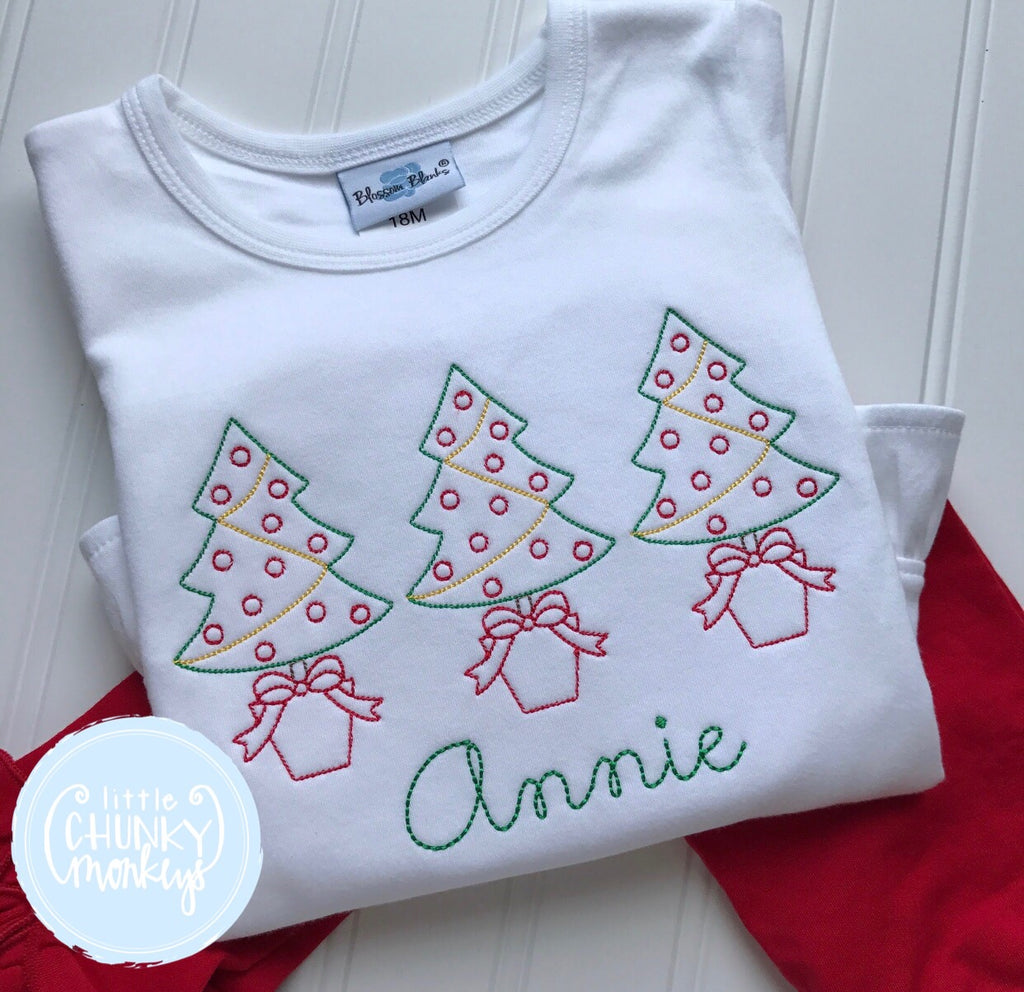 Girl Shirt - Vintage Stitch Christmas Tree Trio Shirt