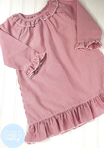 Pajama Set Toddler/Kids - Red Seersucker Ruffle Night Gown