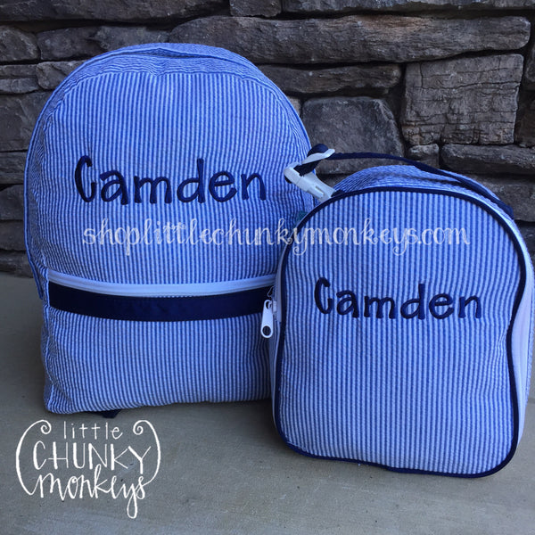 Gumdrop Lunch Box + Personalization on Light Blue