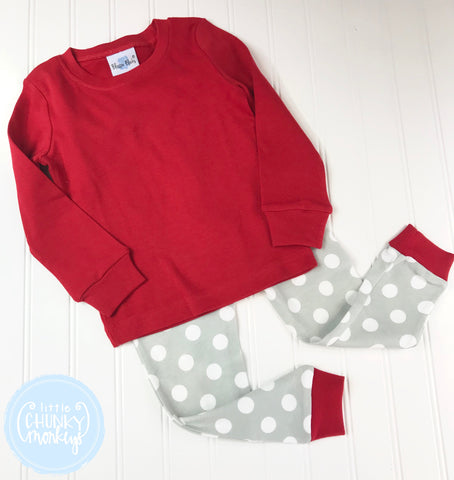 Pajama Set Toddler/Kids - Red Top w/ Grey Polka Dot Bottoms